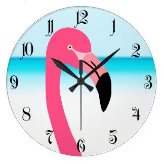 One cute pink flamingo on the beach wall clock