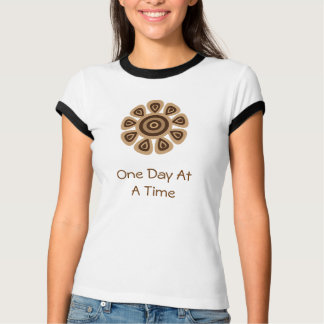 One Day At A Time brown retro flower T-shirt