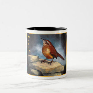 One Day At A Time: Carolina Wren in Oil Pastel Two-Tone Coffee Mug