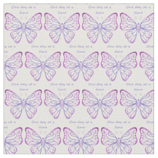 """One Day at a Time"" Inspirational Butterfly Quote Fabric"