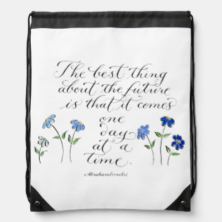 one day at a time inspirational quote typography drawstring bag