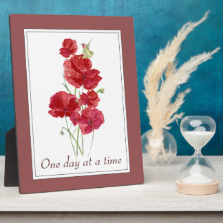"""""""One Day at a Time"""" Inspiring Quote Flowers Plaque"""