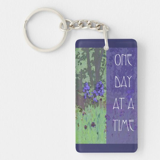 One Day at a Time Irises and Trees Keychain