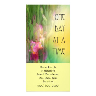 One Day at a Time ODAT Pink and Red Irises Personalized Photo Card