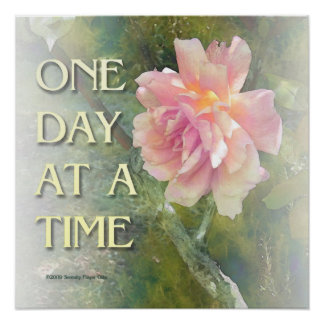 One Day at a Time Pink Rose Poster