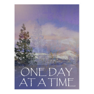 One Day at a Time Trees Hills Snow Postcard