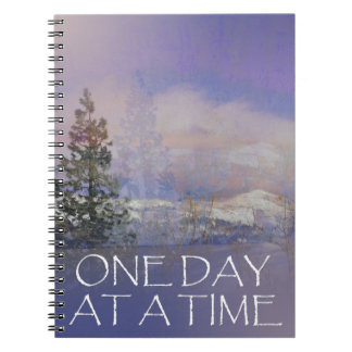 One Day at a Time Trees Hills Snow Spiral Notebook