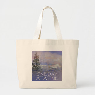 One Day at a Time Tres Hills Snow Large Tote Bag
