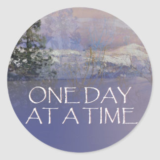 One Day at a Time Tres Hills Snow Round Sticker