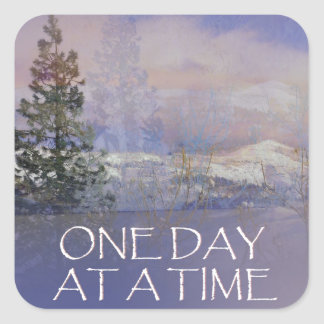 One Day at a Time Tres Hills Snow Square Sticker