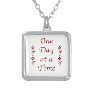 One Day at a Time-with Burgundy Detail Silver Plated Necklace