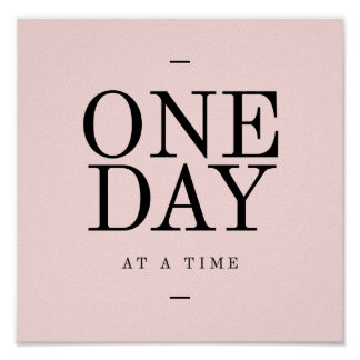 One Day-Goals Motivational Quote Poster Pink Black
