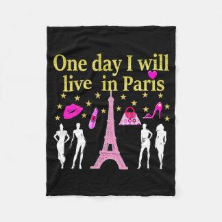 ONE DAY I WILL LIVE IN PARIS FLEECE BLANKET