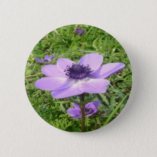 One Delicate Pale Lilac Anemone  Wild Flower 2 Inch Round Button