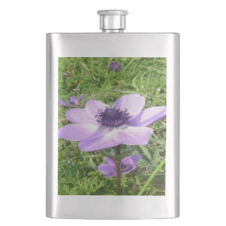 One Delicate Pale Lilac Anemone  Wild Flower Hip Flask