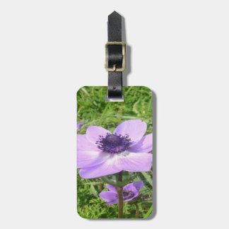 One Delicate Pale Lilac Anemone  Wild Flower Luggage Tag