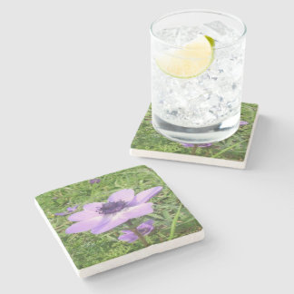 One Delicate Pale Lilac Anemone  Wild Flower Stone Coaster