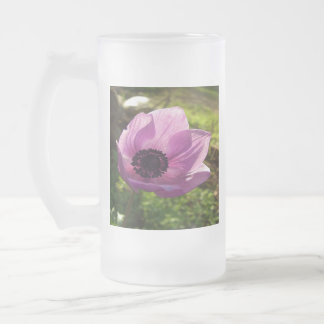 One Delicate Purple Anemone Coronaria Flower Frosted Glass Beer Mug