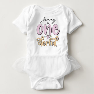 """""""One-derful"""", Personalized Name, flowers design Baby Bodysuit"""