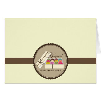 One Dozen French Macarons Bonjour Notecard