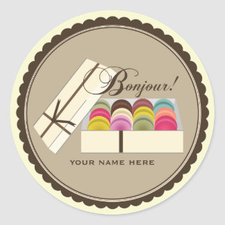 One Dozen French Macarons Bonjour Personalized Classic Round Sticker