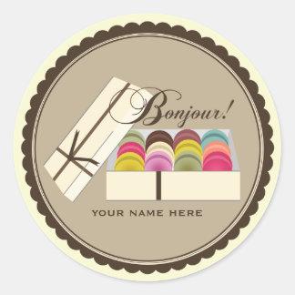 One Dozen French Macarons Bonjour Personalized Round Sticker