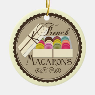 One Dozen French Macarons In A Gift Box Ceramic Ornament