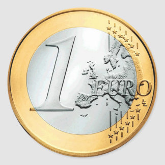 One Euro Coin (pack of 6/20) Round Sticker