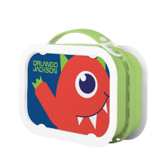 One eyed alien monster orange kids named lunch box