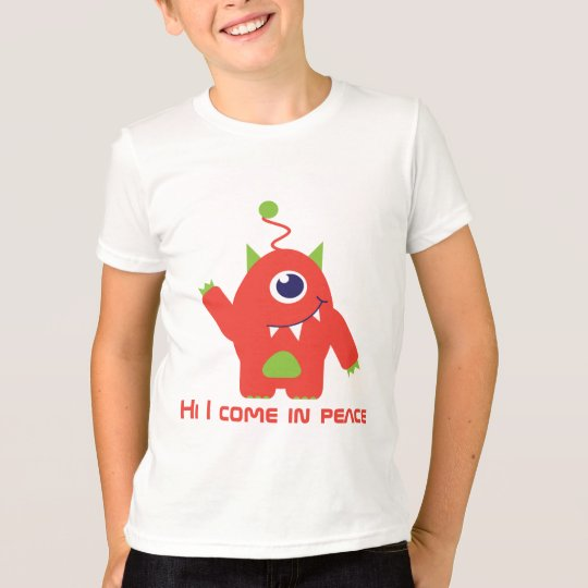 One eyed alien orange & green peace kids t-shirt