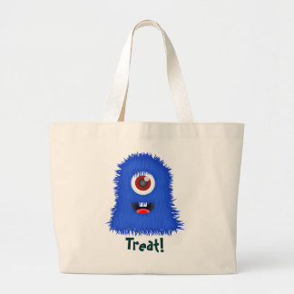 One-eyed, blue monster, trick or treat bag