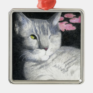 One Eyed Jack Gray Tabby Metal Ornament