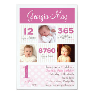 "One first year Baby Girl First Birthday 5"" X 7"" Invitation Card"