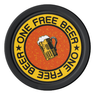ONE FREE BEER custom bar / pub drink chips