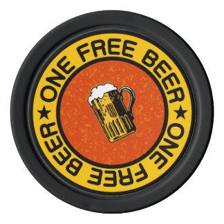 ONE FREE BEER custom bar / pub drink chips Poker Chip Set