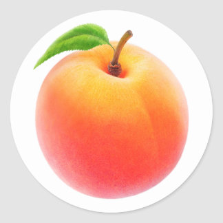 One fresh peach classic round sticker