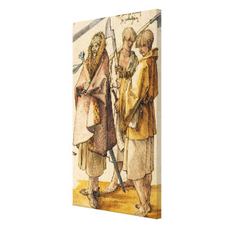 One Gallòglach and Two Kerns - Albrecht Dürer Canvas Print
