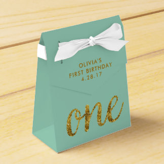 One Glitter 1st Birthday Mint Green and Gold Favor Box