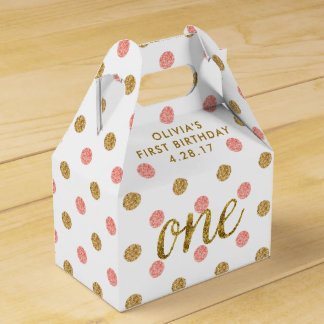 One Glitter Confetti 1st Birthday Pink and Gold Favor Box
