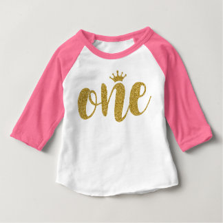 One Gold Glitter Text with Cute Princess Crown Baby T-Shirt