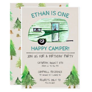 One Happy Camper First Birthday Party Card