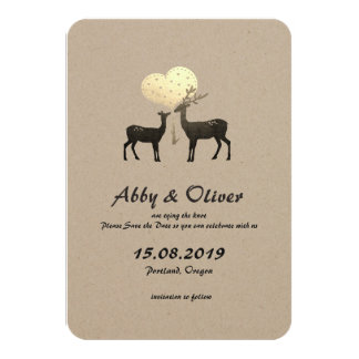 One Heart One Love Woodland Deer Save The Date Card