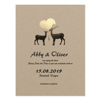 One Heart One Love Woodland Deer Save The Date Postcard