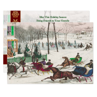 One Horse Open Sleigh Race Vintage Christmas Card