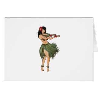 One Hula Girl Dancing Card