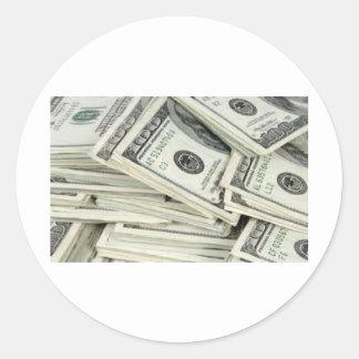 One Hundered Dollar Bills Classic Round Sticker