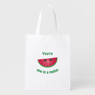 One In A Melon Funny Cute Kawaii Watermelon Reusable Grocery Bag
