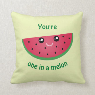 One In A Melon Funny Cute Kawaii Watermelon Throw Pillow