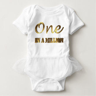 One in a million Elegant Gold Brown Typography Baby Bodysuit