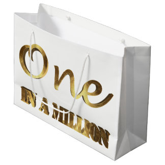 One in a million Elegant Gold Brown Typography Large Gift Bag